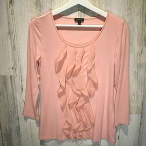 Talbots champagne color ruffled pullover top